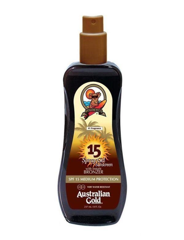 Spray Gel con Effetto Bronze SPF 15 di Australian Gold www.crystalprofumi.it